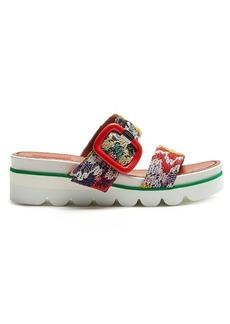 Missoni Crochet-lace slip-on wedge sandals