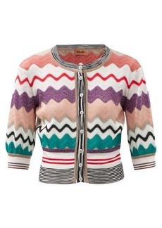 Missoni Cropped-sleeve zigzag-intarsia cardigan