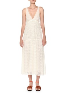 Missoni Deep-V Sleeveless Lace Maxi Dress