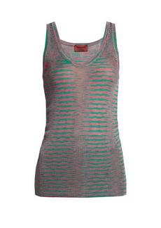 Missoni Faded-stripe ribbed-knit tank top
