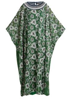 Missoni Floral-embroidered metallic-knit kaftan