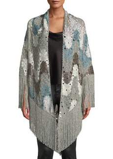 Missoni Flower Knit Shawl w/ Long Fringe