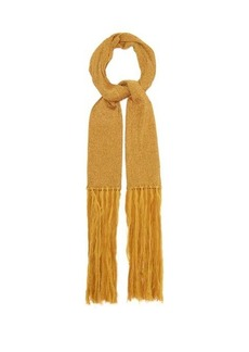 Missoni Fringed metallic rib-knitted scarf
