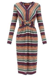 Missoni Glitter-chevron twisted-waist wool-blend dress