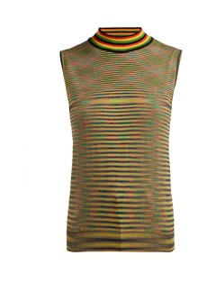 Missoni High-neck striped wool tank top