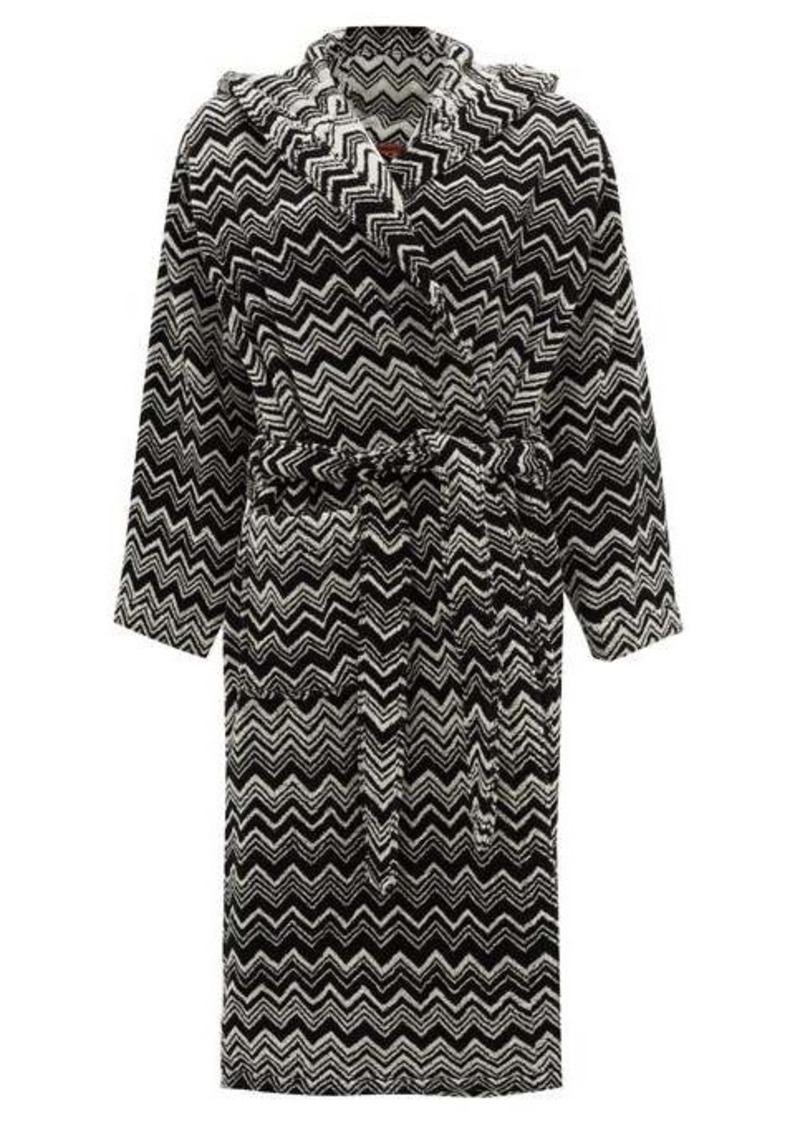 Missoni Home Keith zigzag hooded cotton-terry bathrobe