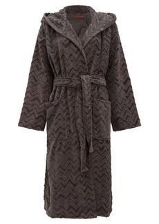 Missoni Home Rex zigzag hooded cotton-terry bathrobe