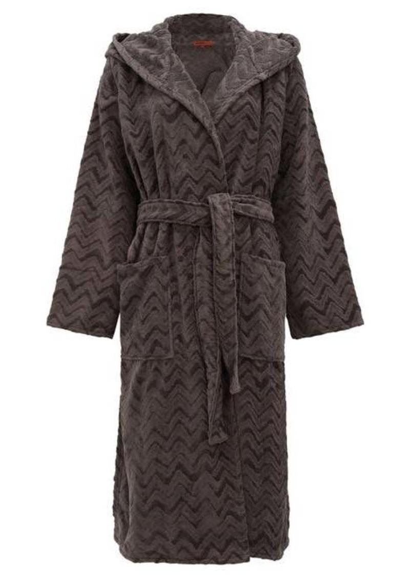 Missoni Home Rex zigzag hooded cotton-terry bathrobe