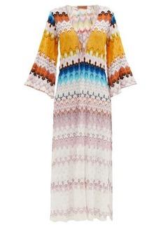 Missoni Lace-up stripe-knitted kaftan
