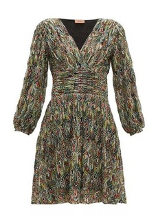 Missoni Leaf-knitted lace cocktail dress