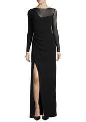 Missoni Long-Sleeve High-Slit Evening Gown
