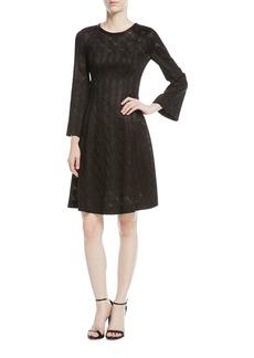Missoni Long-Sleeve Metallic Wavy-Knit Dress
