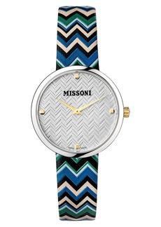 Missoni M1 Joyful Chevron Leather Strap Watch, 34mm (Nordstrom Exclusive)