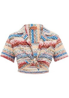 Missoni Mare Cropped glitter-striped lace-knitted shirt
