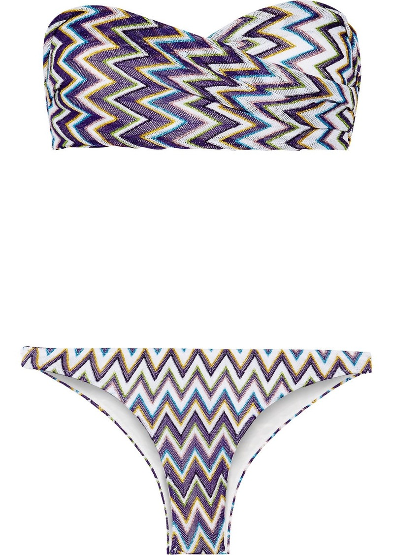 missoni missoni mare metallic crochet knit bandeau bikini swimwear shop it to me. Black Bedroom Furniture Sets. Home Design Ideas