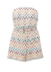 Missoni Mare Strapless metallic zigzag-knitted playsuit