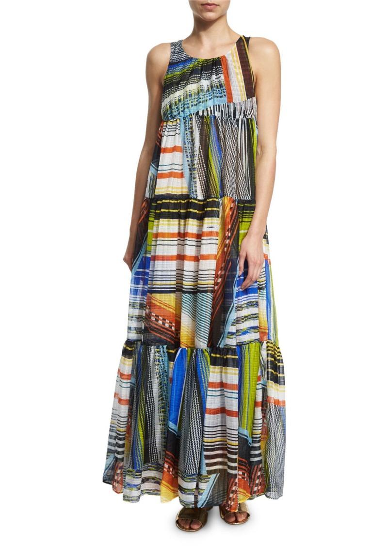 Missoni Mare Multi-Stripe Tiered Maxi Dress