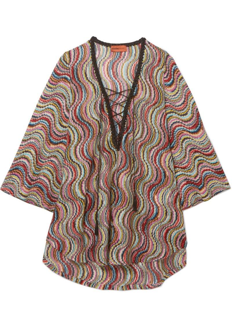 cbb351d74a Missoni Mare metallic crochet-knit kaftan   Swimwear