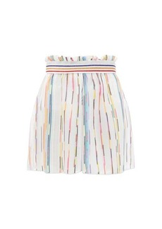 Missoni Mare Paperbag-waist striped mesh shorts