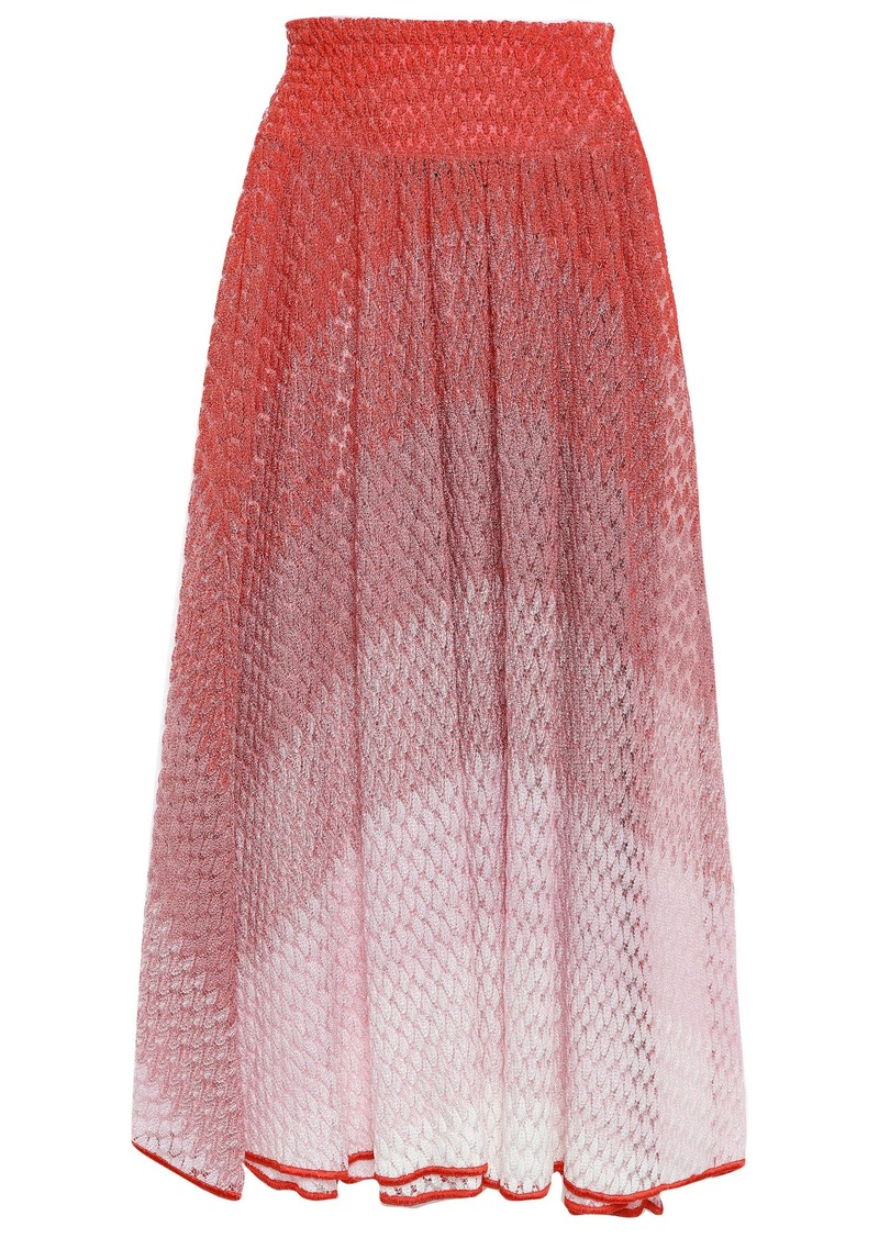 Missoni Mare Woman Dégradé Crochet-knit Midi Skirt Papaya