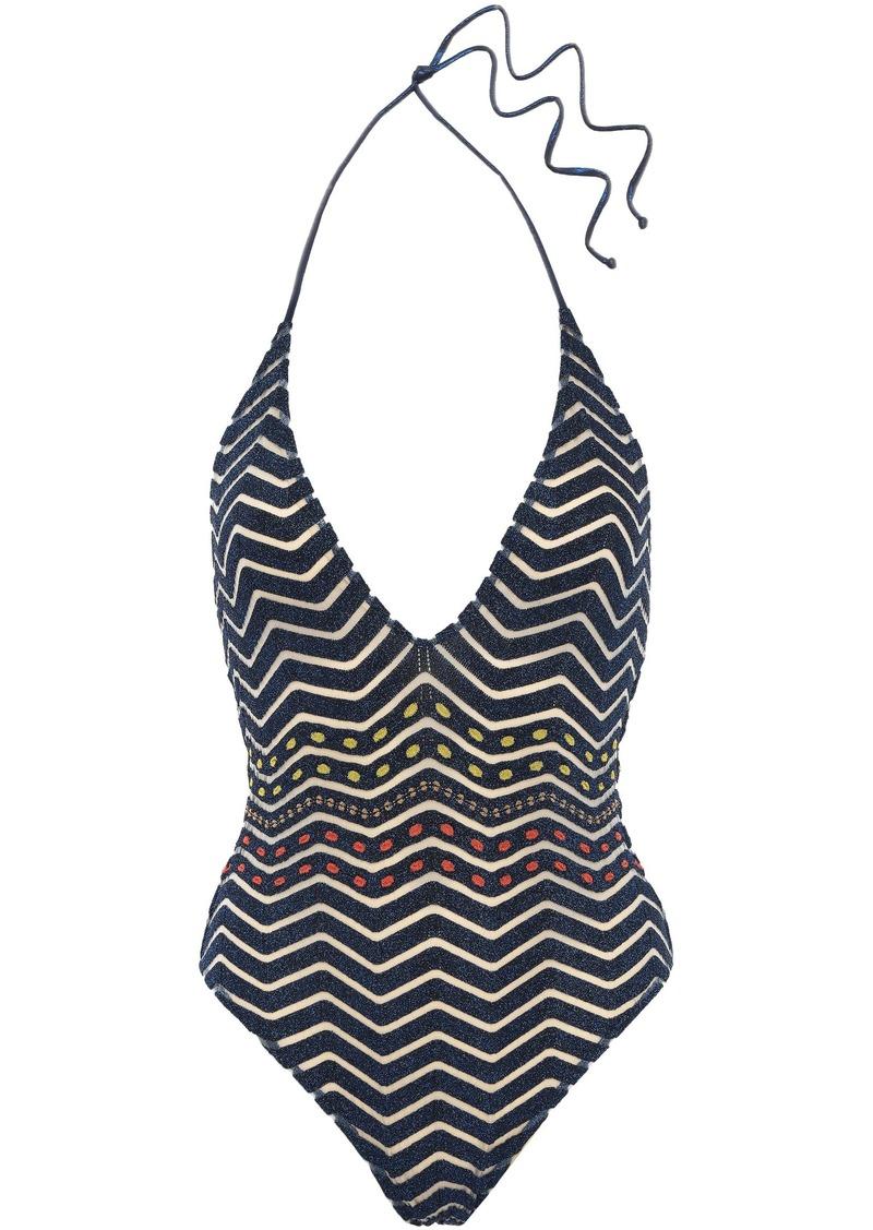 Missoni Mare Woman Mare Burnout-effect Metallic Crochet-knit Halterneck Swimsuit Midnight Blue