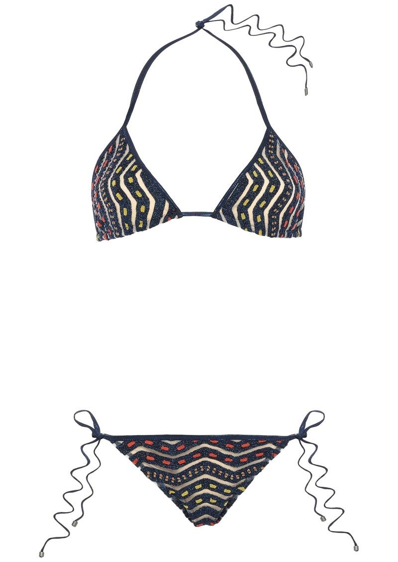 Missoni Mare Woman Mare Burnout-effect Metallic Crochet-knit Triangle Bikini Midnight Blue