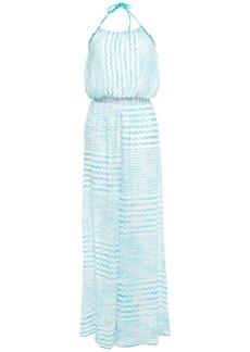 Missoni Mare Woman Mare Crochet-knit Halterneck Wide-leg Jumpsuit Turquoise