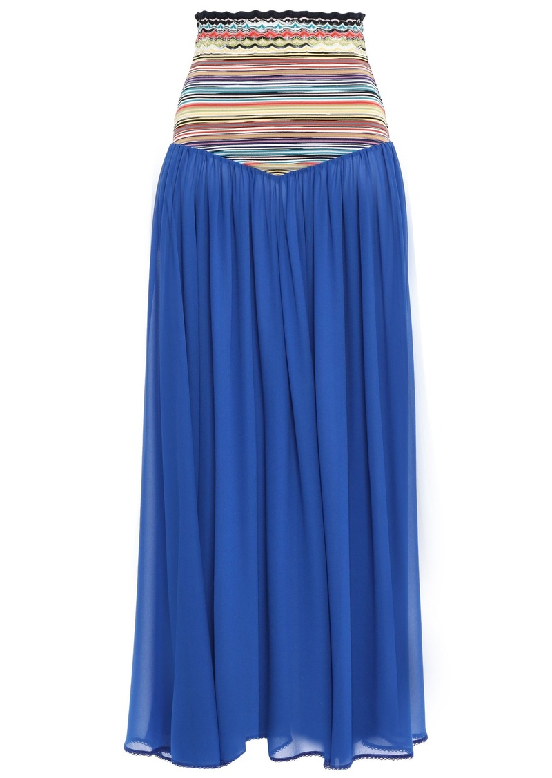 Missoni Mare Woman Mare Crochet Knit-paneled Silk-blend Georgette Maxi Skirt Bright Blue