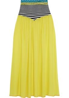 Missoni Mare Woman Mare Crochet Knit-paneled Silk-blend Georgette Skirt Yellow
