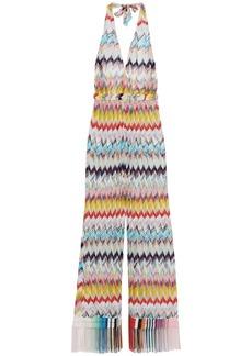 Missoni Mare Woman Mare Fringe-trimmed Crochet-knit Halterneck Jumpsuit Multicolor