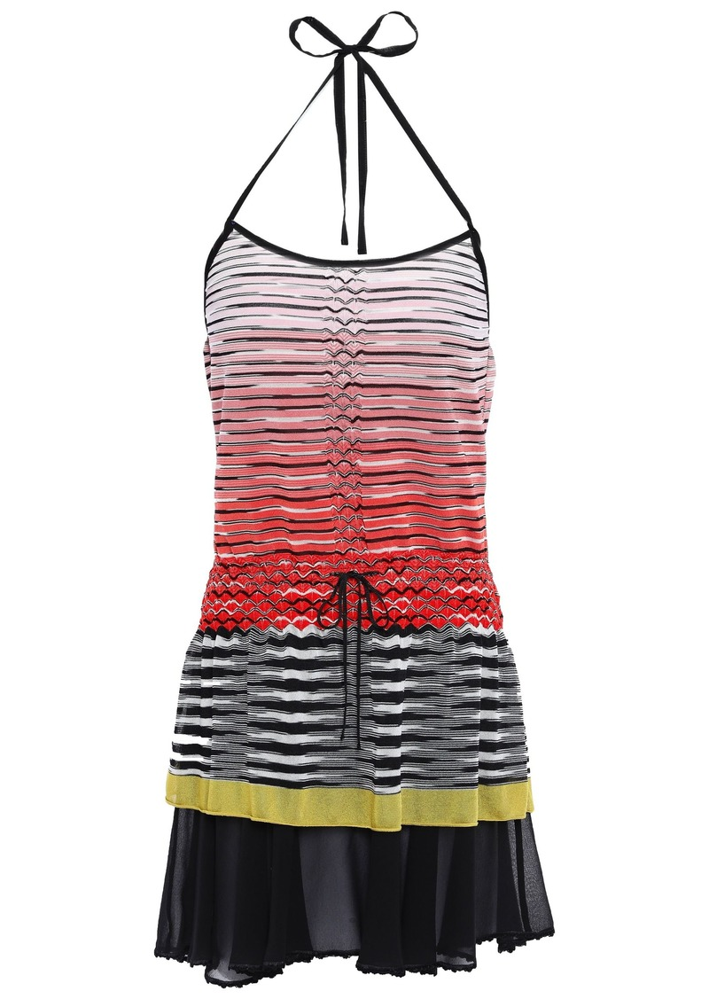 Missoni Mare Woman Mare Georgette-paneled Crochet-knit Halterneck Mini Dress Papaya