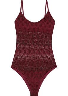 Missoni Mare Woman Mare Metallic Crochet-knit Swimsuit Claret