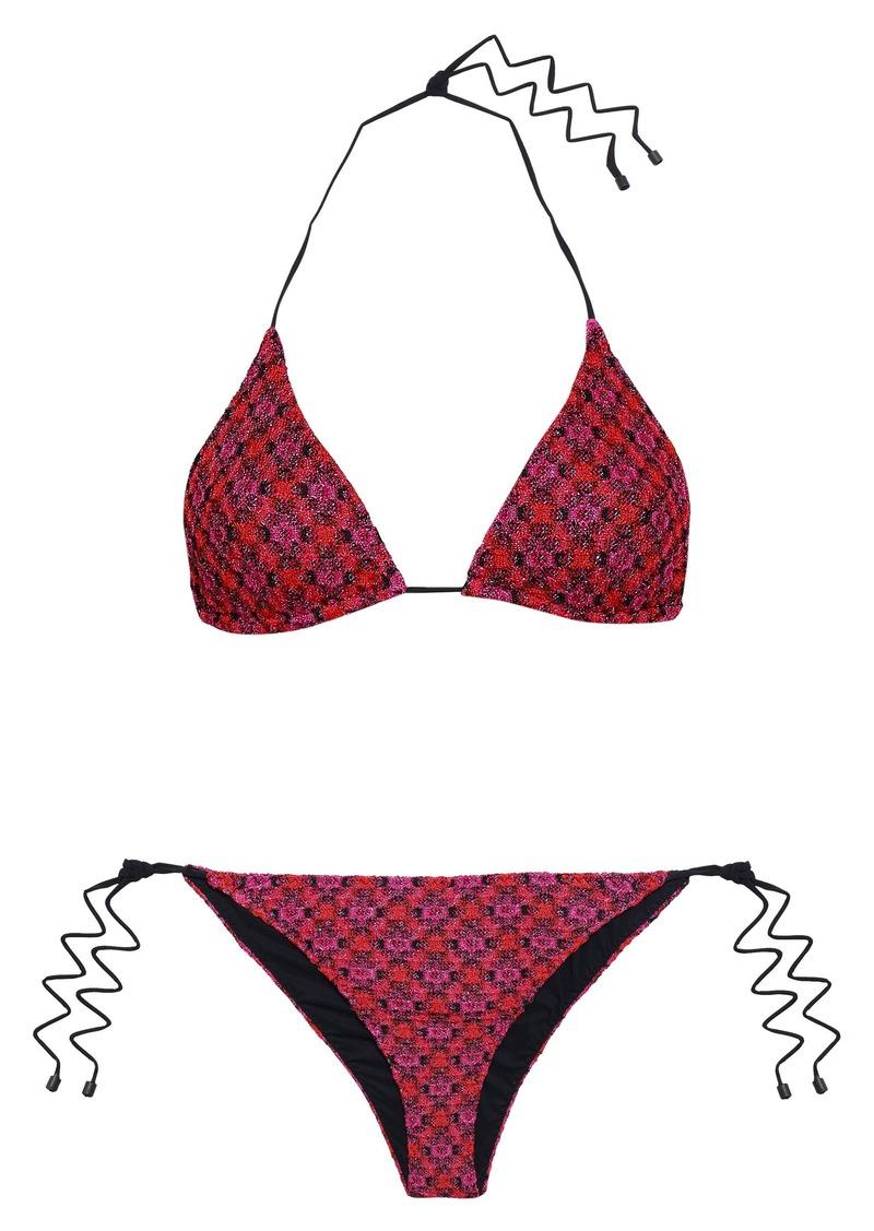Missoni Mare Woman Mare Metallic Crochet-knit Triangle Bikini Magenta