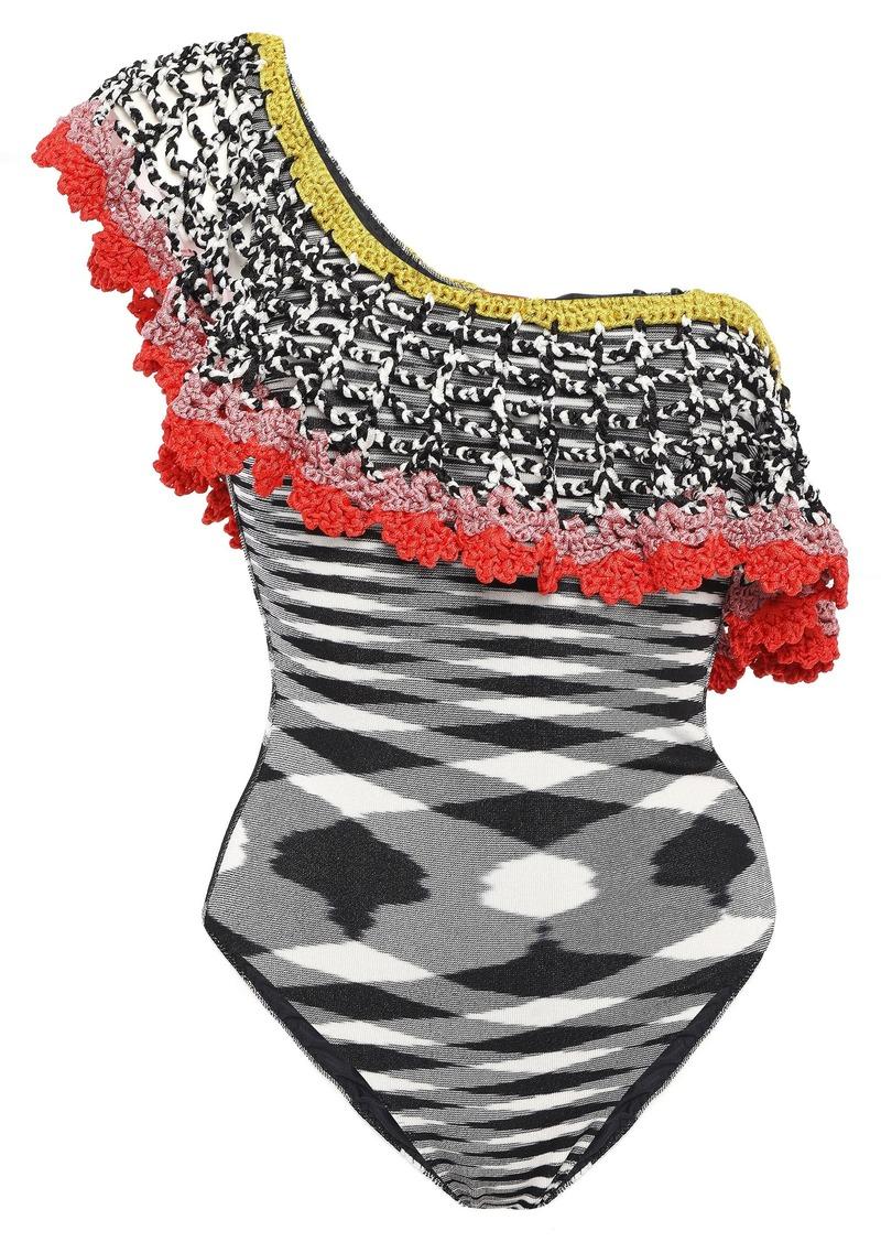 Missoni Mare Woman Mare One-shoulder Macramé-trimmed Crochet-knit Swimsuit Gray