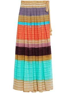 Missoni Mare Woman Mare Pleated Color-block Metallic Crochet-knit Pareo Gold