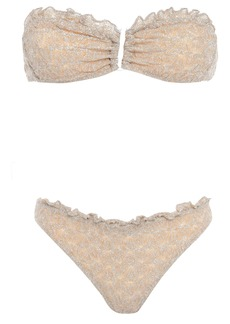 Missoni Mare Woman Mare Ruffle-trimmed Metallic Crochet-knit Bandeau Bikini Beige