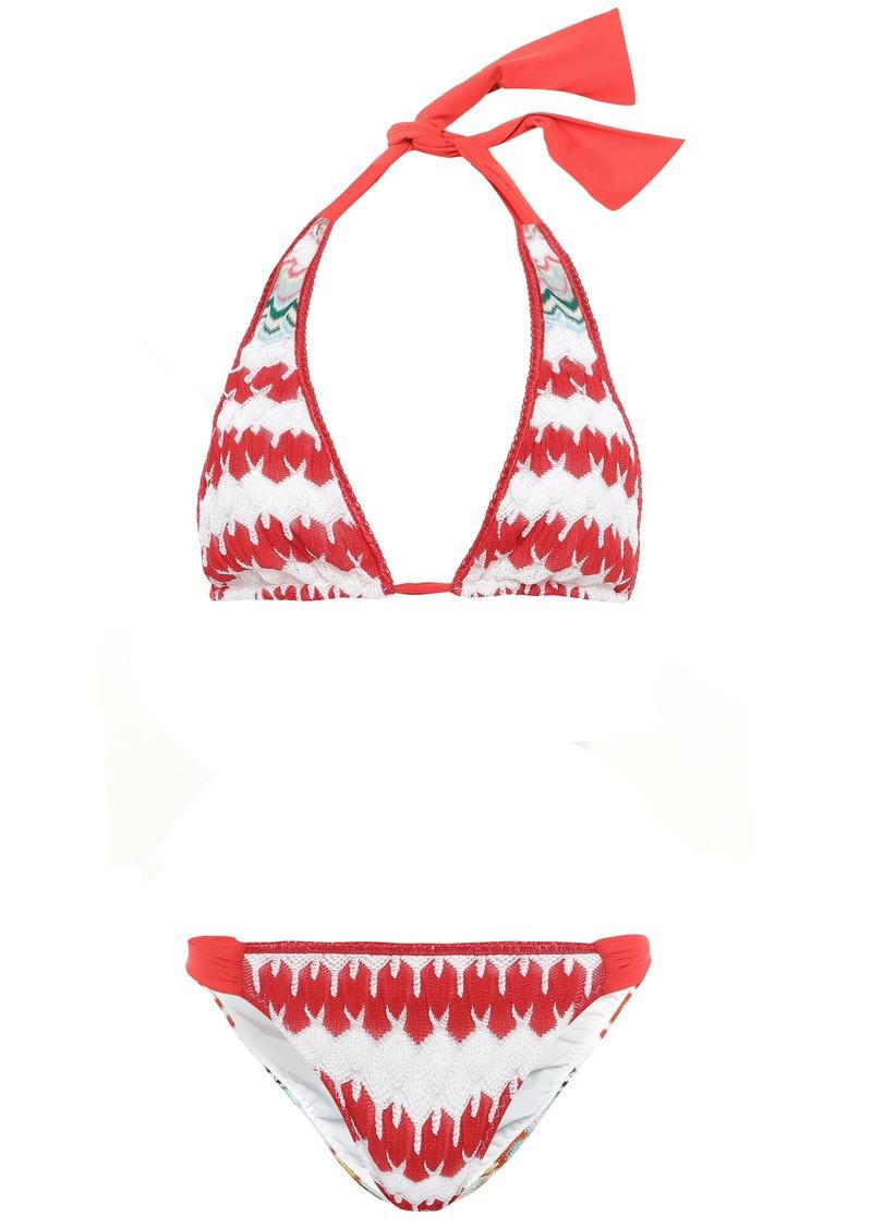 Missoni Mare Woman Mare Striped Crochet-knit Halterneck Bikini Red