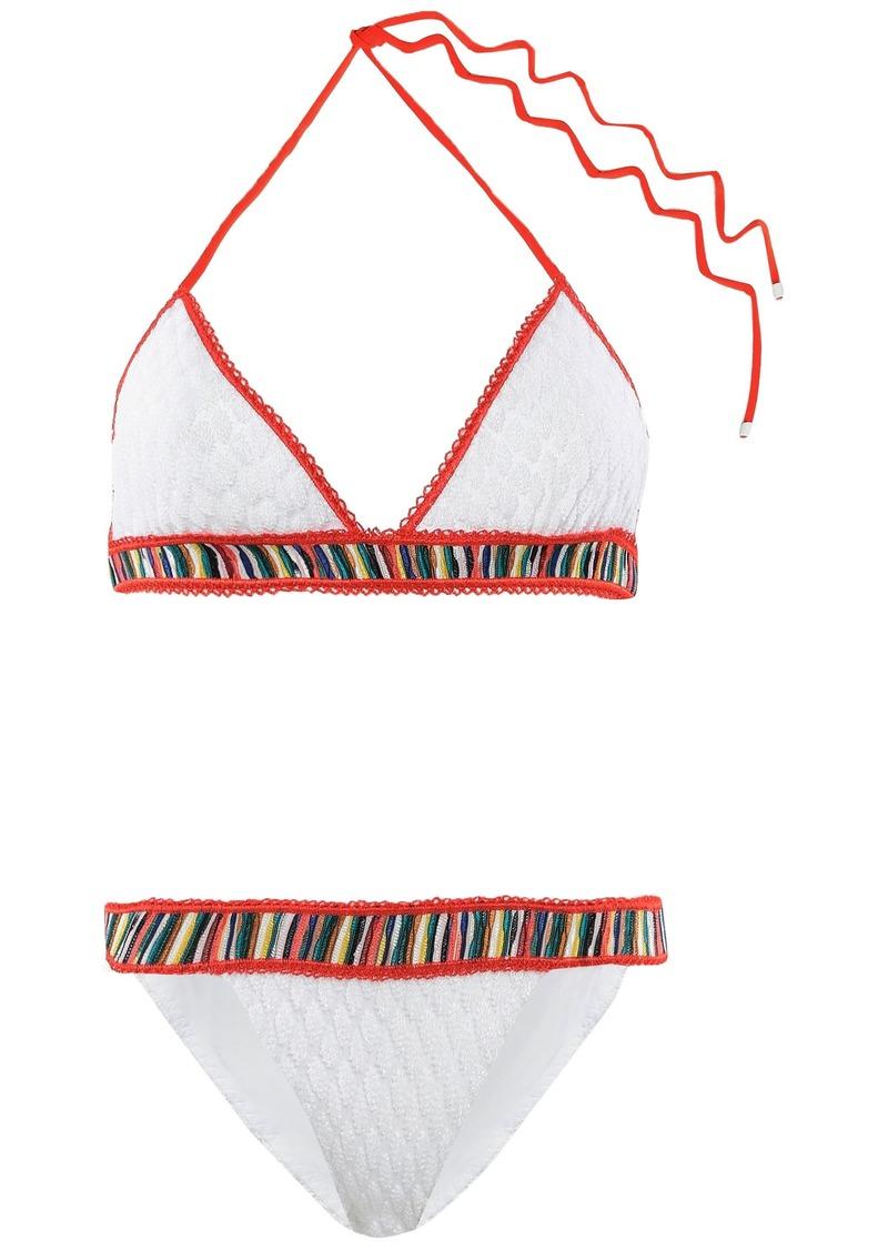 Missoni Mare Woman Mare Striped Crochet-knit Triangle Bikini White