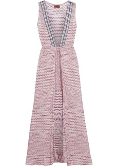 Missoni Mare Woman Mare Tie-front Crochet-knit Coverup Pink