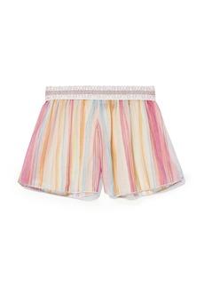 Missoni Mare Woman Striped Metallic Crochet-knit Shorts Baby Pink