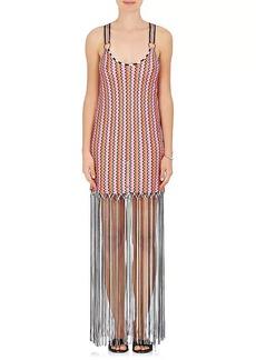 Missoni Mare Women's Fringe-Trimmed Chevron-Knit Racerback Dress