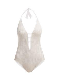 Missoni Mare Zigzag-knit halterneck swimsuit