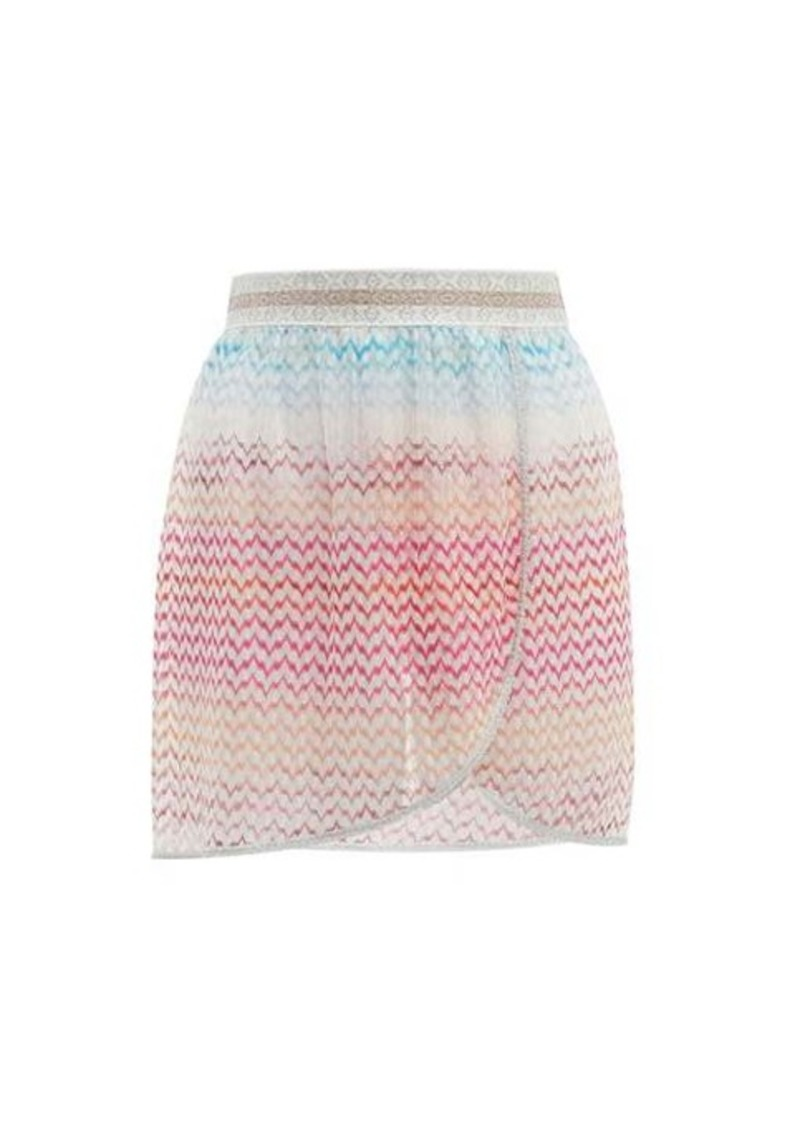 Missoni Mare Zigzag-knitted mini wrap skirt