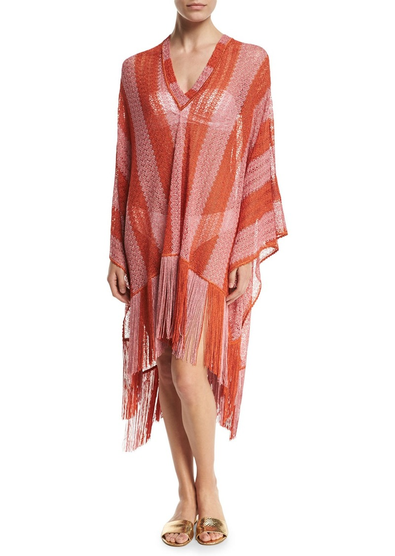 missoni missoni mare zigzag stripe long coverup with fringe swimwear shop it to me. Black Bedroom Furniture Sets. Home Design Ideas