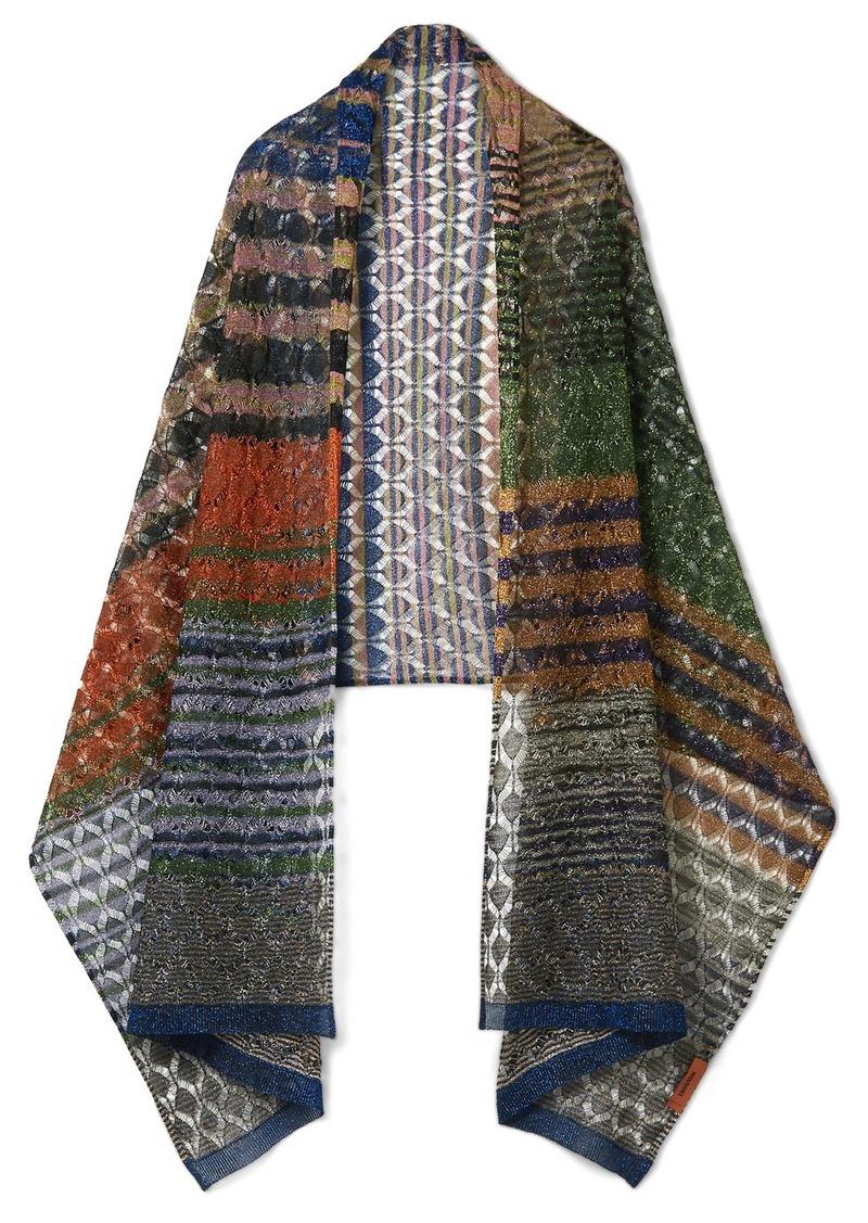 b7adedf4a042 Missoni Metallic crochet-knit scarf