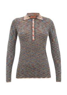 Missoni Metallic long-sleeved striped-knit polo shirt