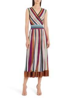 Missoni Metallic Stripe Faux Wrap Midi Sweater Dress