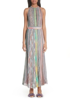Missoni Metallic Stripe Halter Dress