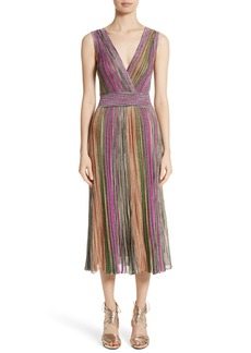 Missoni Reversible Metallic Stripe Knit Midi Dress