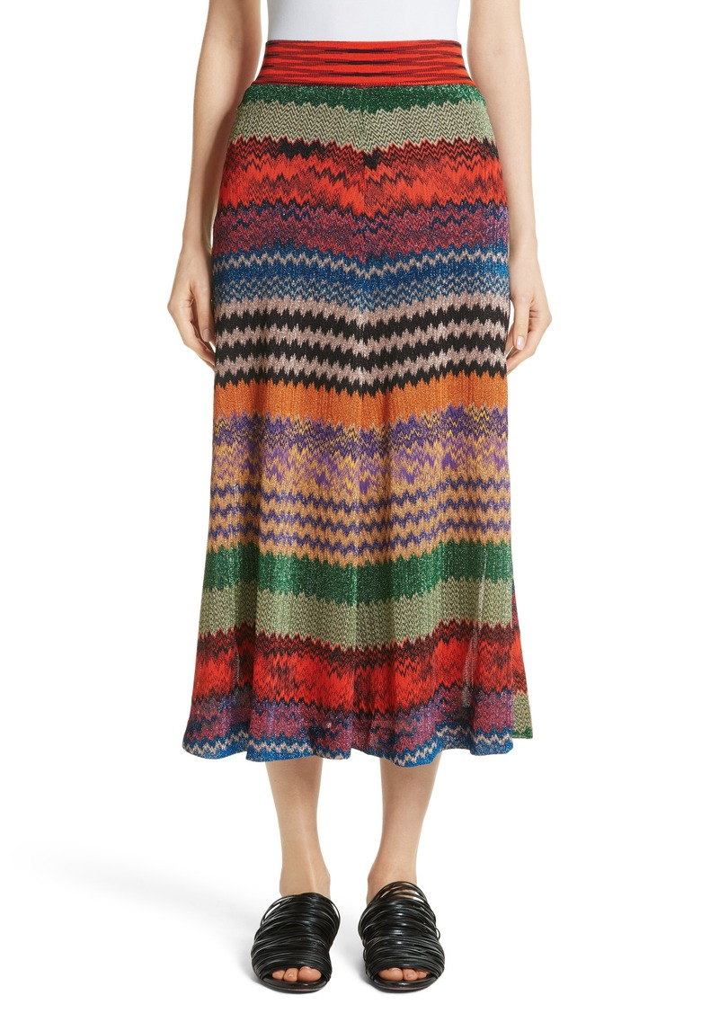 Missoni Missoni Metallic Stripe Knit Midi Skirt  e91d1c45b